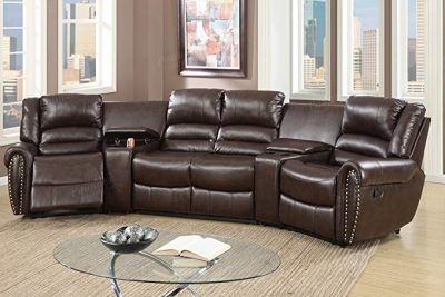5pcs Brown Bonded Leather Reclining Sofa Set Home Theater Sectional Sofa Set: