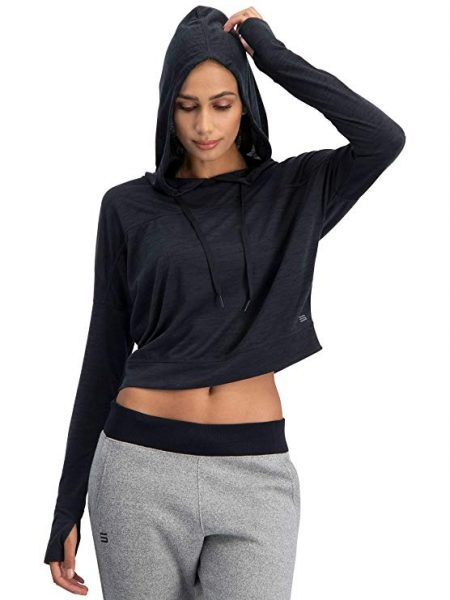 Dry Fit Crop Tops for Women - Long Sleeve Crop Top Hoodie - Women's Workout Pullover Top with Thumb Holes