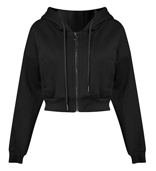 Joeoy Women's Drawstring Zip Up Fleece Hoodie Coat Jacket Crop Top
