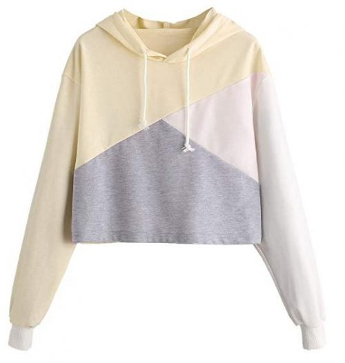 Romwe Women's Cute Color Block Pullover Crop Top Hoodie Sweatshirt