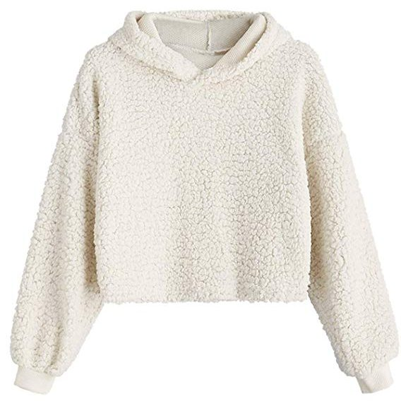 ZAFUL Women Crop Hoodies Fluffy Boxy Solid Color Short Pullover
