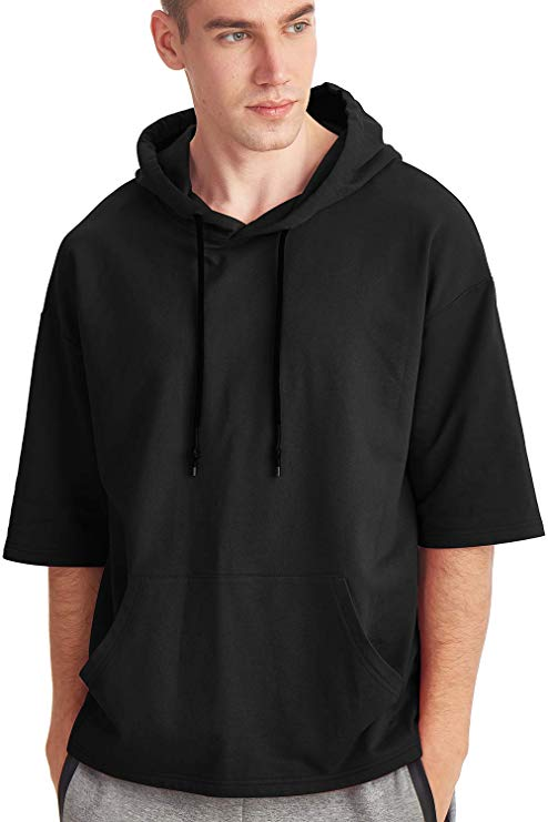 Zengjo Men's Short Sleeve Active Sportwear Lightweight Sweatshirt Hoodie Solid Fashion Hooded T-Shirt
