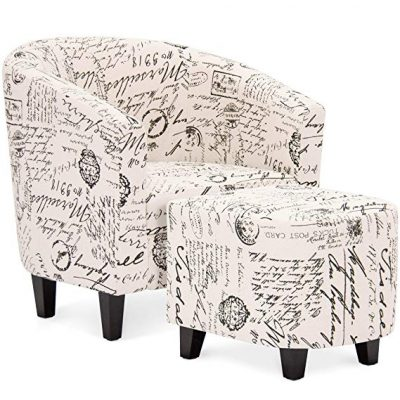 6. Best Choice Products Modern Contemporary Linen Upholstered Barrel Accent Chair: