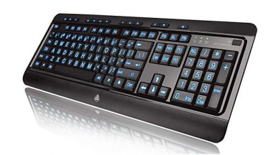 10. Azio Large Print Tri-Color Backlit Wired Keyboard: