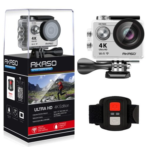 AKASO 4K Wi-Fi Sports Action Camera Ultra HD Waterproof DV Camcorder 12MP 170 Degree Wide Angle LCD Screen/Remote