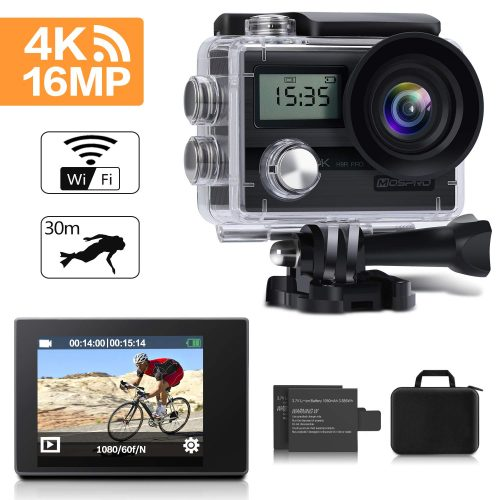 Action Camera, MOSPRO 4K 16MP Dual Screen WiFi Waterproof Sports Cam 170 Degree Wide Angle DV Camcorder
