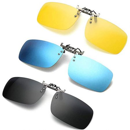 3 PACK, Clip on Flip up Polarized Lens For Prescription Glasses
