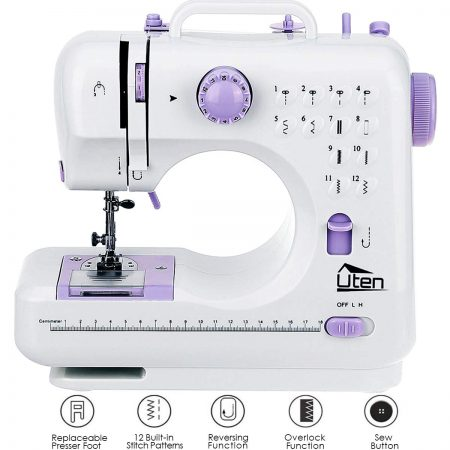 AGM Portable Sewing Machine, Uten 12 Stitches 2 Speed Heavy Duty Sew Machine