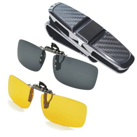 Aioink 2-Piece Polarized Clip-on Sunglasses and Car Glasses Holder