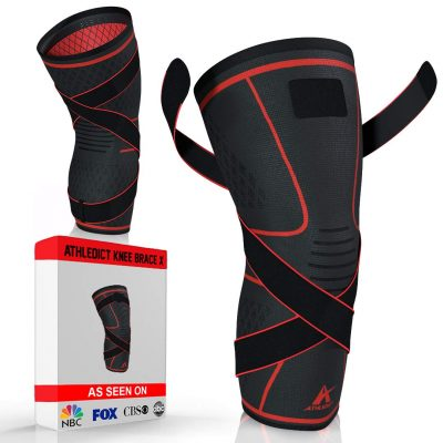 Athledict Knee Brace Compression Sleeve with Strap for Best Support & Pain Relief for Meniscus Tear