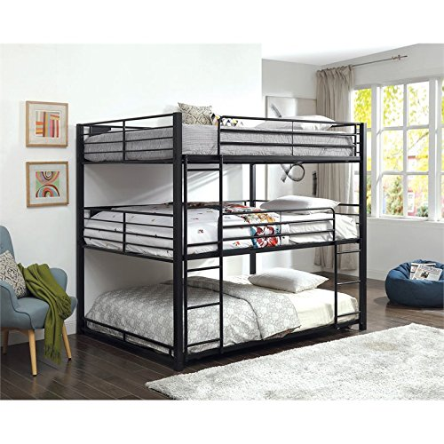 BOWERY HILL Queen Triple Bunk Bed in Sand Black