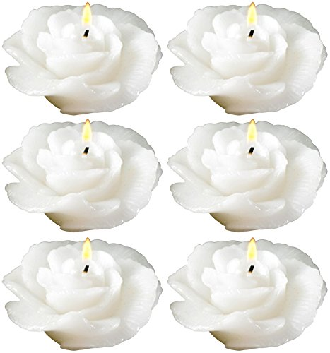 Biedermann & Sons Rose-shaped Floating Candles In White