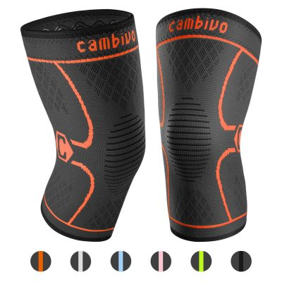 CAMBIVO 2 Pack Knee Brace, Knee Compression Sleeve Support for Running