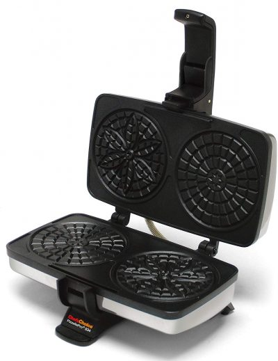 Chef'sChoice 834 PizzellePro Toscano Nonstick Pizzelle Maker Features Baking Indicator Light Consistent Even Heat Press Delicious Pizzelles in Seconds