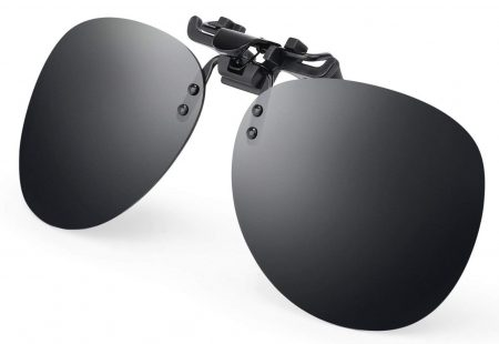 Costyle Black Grey Retro Polarized Clip on Flip up Plastic Sunglasses Driving Fishing Traveling