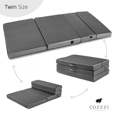 "Cozzzi Twin Folding Mattress – 4"" Thick x 75"" x 39"" - Trifold Foam Mat"