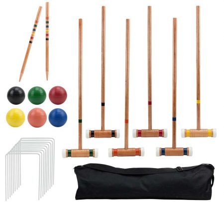 Crown Sporting Goods Six-Player Deluxe Croquet Set | Classic Wooden Mallets