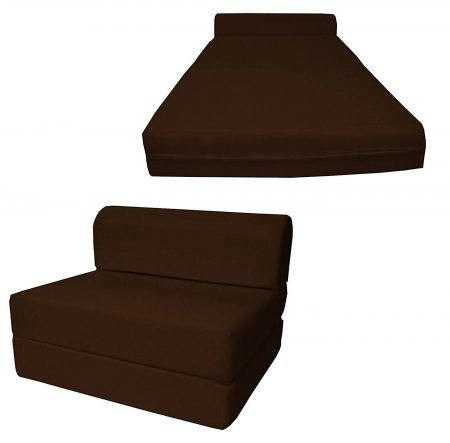 D&D Futon Furniture Brown Sleeper Chair Folding Foam