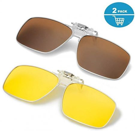 ELIVWR Polarized Clip on Sunglasses over Prescription Glasses Men&Women,Flip up Rectangle Lens Day and Night 2 Pack 4.2 out of 5