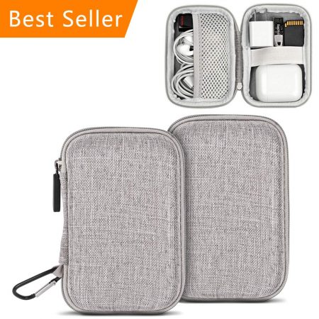 Earbuds Case Storage, ASMOTIM EVA Hard Carrying Pouch Headphone Case Portable Travel Earphones Carrying Case for Airpods Headset Charge Cable USB Key