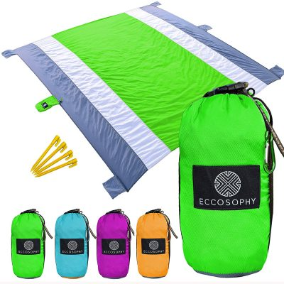 Eccosophy Outdoor Beach Blanket Sand Proof Oversized 9x10ft–Portable Compact Lightweight Beach Mat