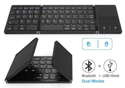 Foldable Bluetooth Keyboard, Jelly Comb Dual Mode Bluetooth