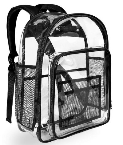 Heavy Duty Black Clear Backpack