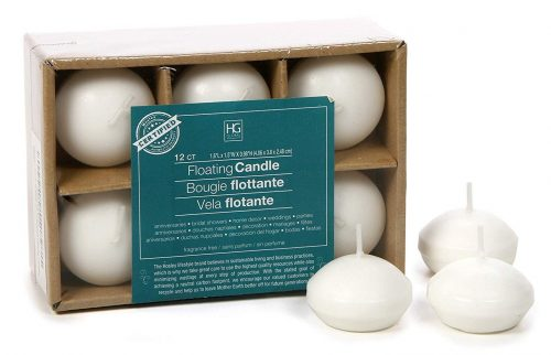 Hosley Set of 12, White Unscented Water Floating Mini Candle Discs- 1.6""