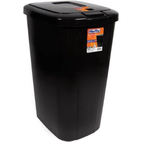 Lightweight and Durable Hefty Touch Lid 13.3 Gallon Trash Can