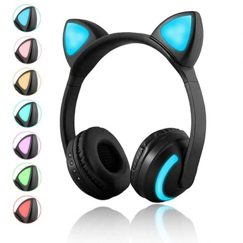 Luckyu Wireless Bluetooth Cat Ear Headphones with Mic 7 Colors LED Light Flashing Glowing On-Ear