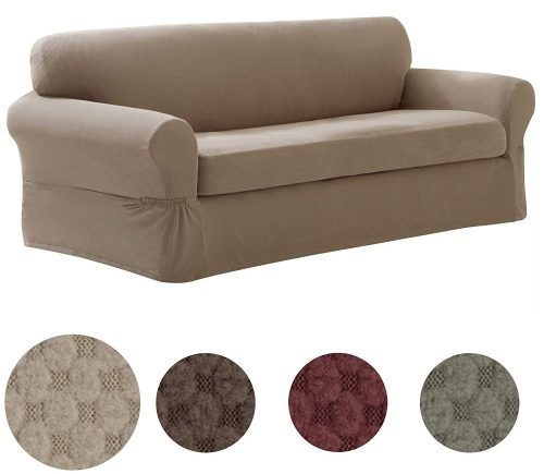 MAYTEX Pixel Slipcover 2 Piece Sofa Sand