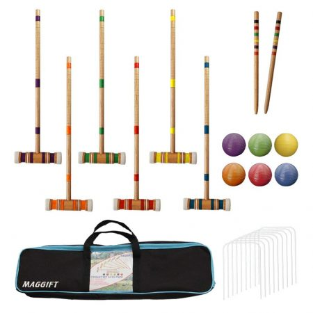 Maggift Six Player Croquet Set with Carrying Bag, 26-Inch-Croquet Sets