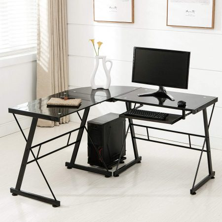 Mecor L Shape Tempered Glass Computer Desk w/Keyboard Tray & CPU Stand-Corner Laptop