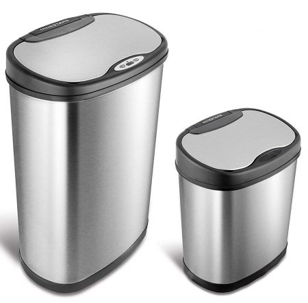 NINESTARS CB-DZT-50-13/12-13 Automatic Touchless Infrared Motion Sensor Trash Can Combo Set, 13 Gal 50L
