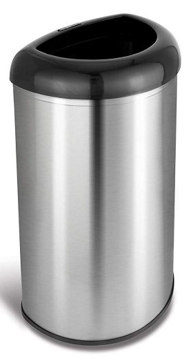 NINESTARS OTT-50-19BK Open Top Office Bathroom Trash Can