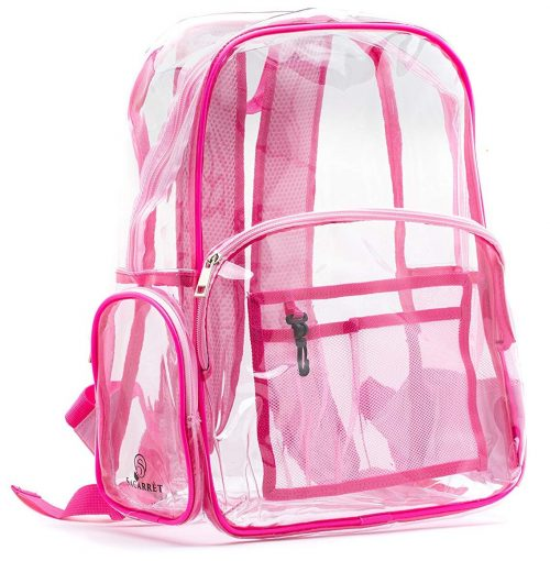 New! Quality Clear Backpack Pink