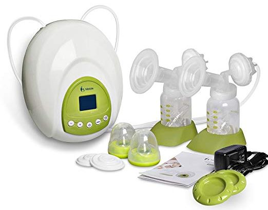 Nibble Comfort Double Electric Breast Pump with Accessories 10 Levels Suction Adjustable Independent Dual Control BPA Free