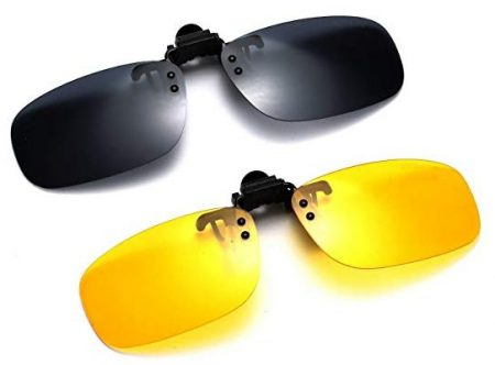 Polarized Clip-on Flip Up Metal Clip Rimless Sunglasses for Prescription Glasses