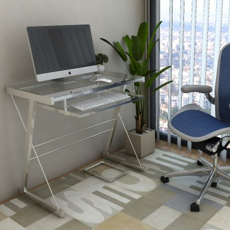 Ryan Rove Becker Metal and Glass Computer Desk in Silver Color:Silver