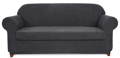 Subrtex 2-Piece Jacquard High Stretch Couch Slipcover