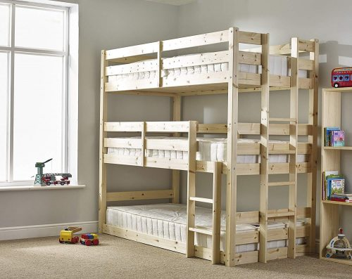 Three Sleeper Bunkbed - 3ft Single Triple Sleeper Bunk Bed