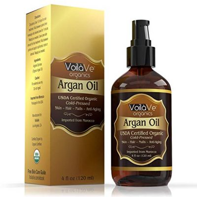 VoilaVe Virgin USDA & ECOCERT Certified Organic Moroccan Argan Oil for Skin
