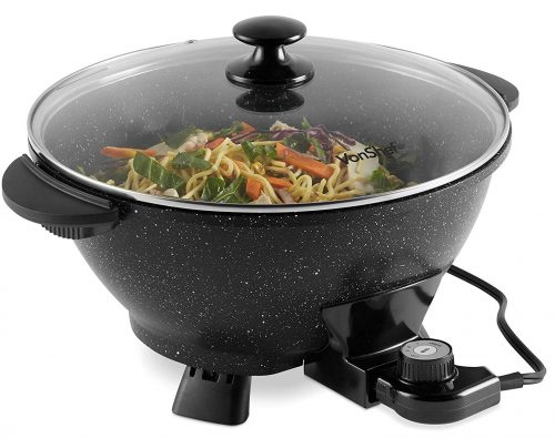 VonShef 7.4Qt Electric Wok with Lid