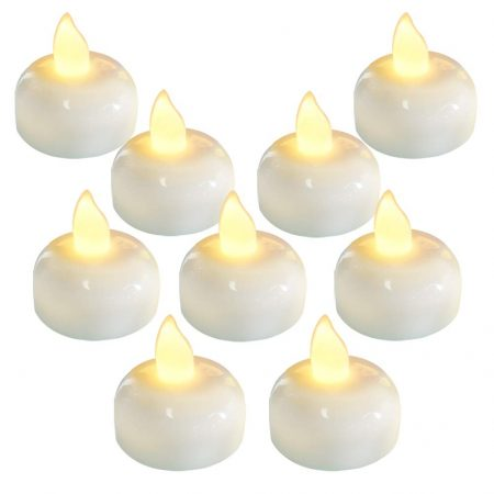 Waterproof Flameless Floating Tealights, Warm White Battery Flickering LED