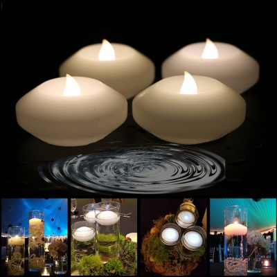 Wax Flicker 3 inch LED Water Floating Candle Warm White Color