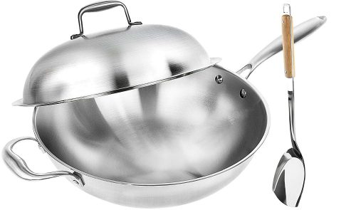Wok Pan with Premium Lid and Bonus Bamboo Spatula - Thick 13 Inch