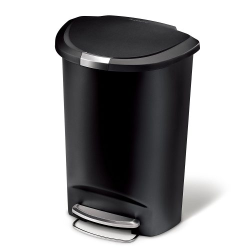 simplehuman Semi-Round Step Trash Can, Black Plastic