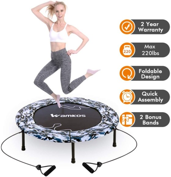"Upgraded Wamkos 40"" Rebounder Mini Exercise Trampoline"