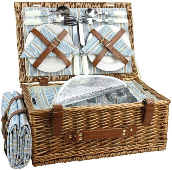 Wicker Picnic Basket Set for 4 Persons