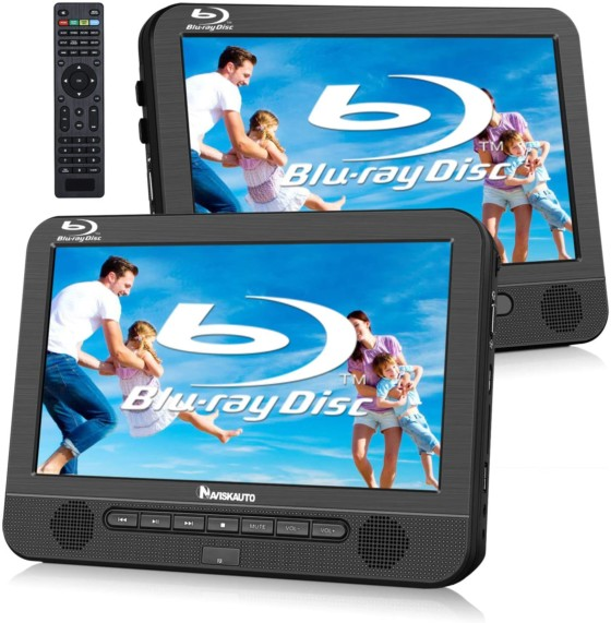 NAVISKAUTO 10.1-inch Blu-Ray Dual Car DVD Players